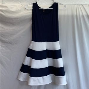 Navy blue and white dress